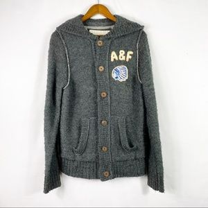ABERCROMBIE & FITCH Wool Cardigan Hoodie Rare - M